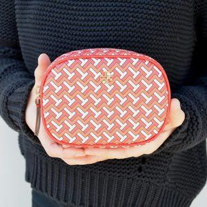 NWT Tory Burch Tile T Cosmetic Case Pouch in Red